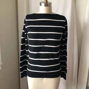 3/$30 Black White Stripes Boatneck Sweater
